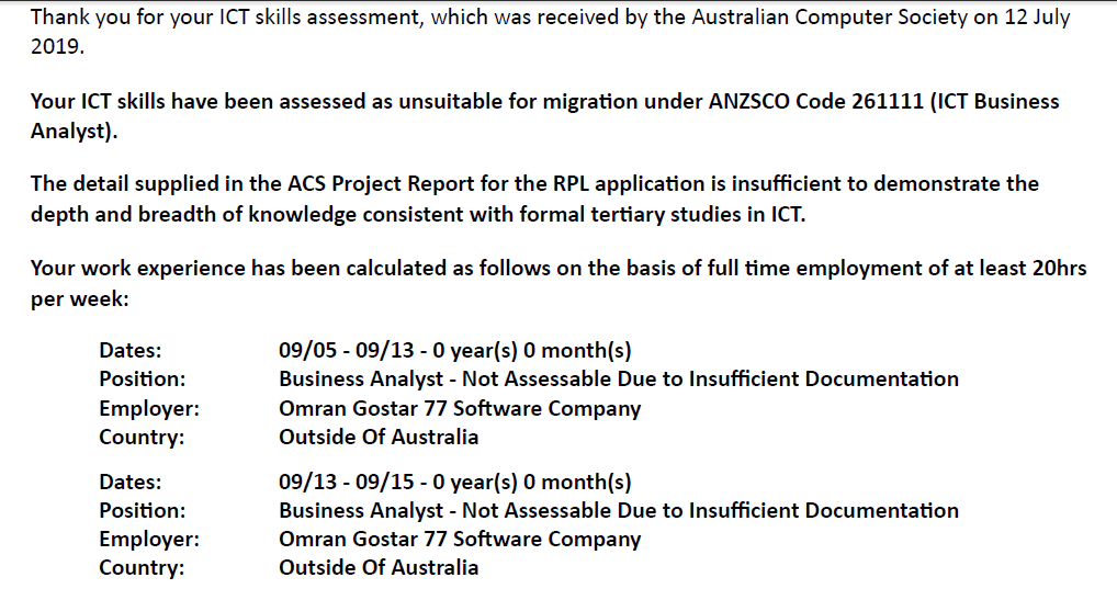 Acs Skills Assessment Outcome Letters 187 Acsaustralia Org